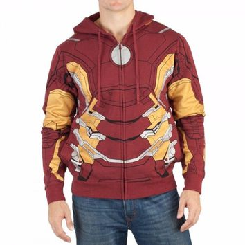 Iron Man Suit Up Costume Marvel Comics Adult Zip Up Hoodie
