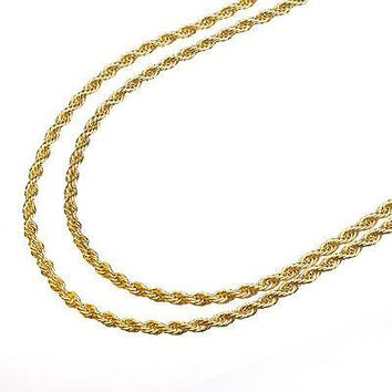 "Jewelry Kay style Men's 14K Yellow Gold Plated 2.5 mm Rope Double Chain Necklace 22""+26"" 2pc Set"