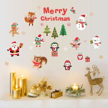New year Christmas Santa Claus Wall Stickers bedroom decorations DIY Christmas Decoration Window Decal Christmas Wall Stickers