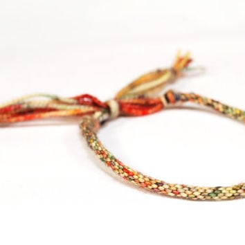 Kumihimo Bracelet Strawberry Fields Red & Yellow Merino Wool Soft Fiber Jewelry