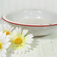 Red on White EnamelWare Round Basin - Vintage Porcelain Mixing Bowl - FarmHouse Chippy Paint Decor