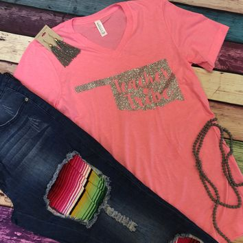 Oklahoma Teacher Tribe Pink with Silver Glitter