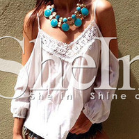 White Long Sleeve Off-Shoulder Blouse with Lace Accent