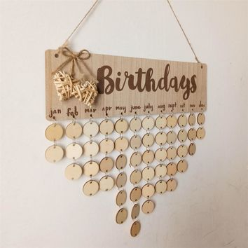 Birthday Anniversary Calendar Signature DIY Families Friends  Plans Board Natural Wood Birthday Board  Hanging Decorative Gifts