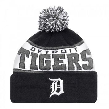 ESBON MLB New Era Detroit Tigers 2015 Banded Mark Black Knit Hat