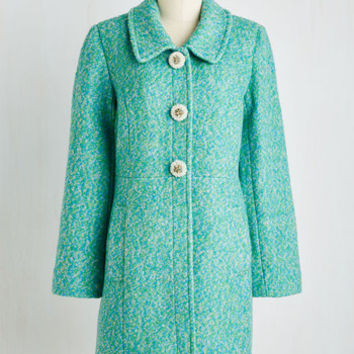60s Long Snowfall in Love Coat in Aqua