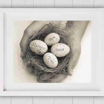 Custom Baby Gift, New Baby Gift, Egg in Nest Print, Family Nest, Personalized Gift for Mom, Mum Gift, Family Nest Print, Unique Baby Gift