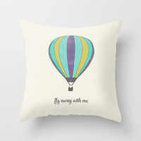 FLY AWAY WITH ME - HOT AIR BALLOON Throw Pillow by Allyson Johnson