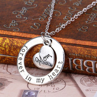 [Mothers Day] New Forever Mom Love Mother's Day Family Best Gifts For Mother Pendant Necklace Heart Charm Silver Plated Fashion Jewelry