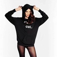 Letter Print Women Casual Fashion Long Sleeve Hooded Sweater Tops