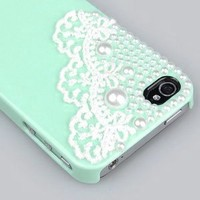 Cute Pearl Cute Lace Deco Ice Cream Case Cover for iPhone 4 4G 4S-Mint Green