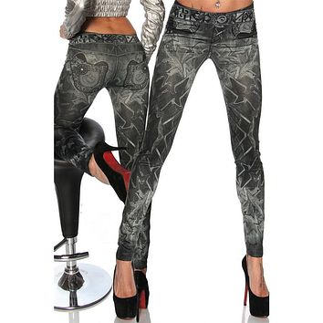 Sexy Women Ladies Tattoo Thin Elastic Slim Fit Skinny Stretch Jean Leggings Jegging Pants Trousers Leggins