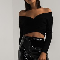 AKIRA Fine Ribbed Knit Long Sleeve Cropped Wrap Sweater in Black