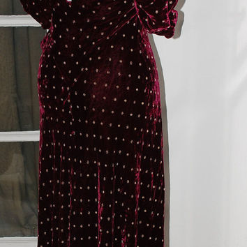 30s Dress, Burgundy, Silk Velvet, Gown, Gold Embroidery, Beautiful Condition, Size S/M