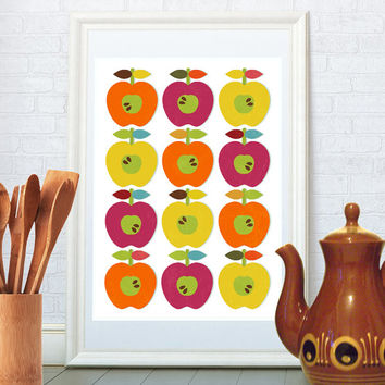 Mid century modern art print, Scandinavian kitchen design, Minimalist nature pattern, Pop art home decor