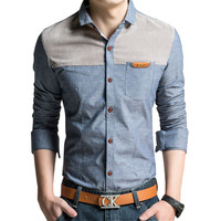 Denim Patchwork Design Man Casual Shirts