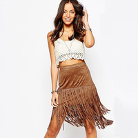 Casual Brown Fringed Midi Skirt