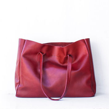 Cranberry Leather Shopper / Leather Tote / Shoulder Bag / Red Leather Bag / Leather Bag / Women's Handbag / Raw Edged Shopper / Red Tote