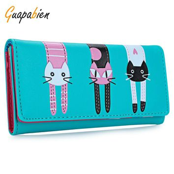 Guapabien New 2016 Women Cute Cat Cartoon Wallet Long Creative Card Holder Casual Ladies Clutch PU Leather Coin Purse