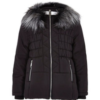 River Island Girls black padded ski jacket