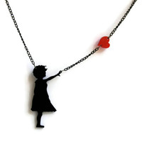 Graffitti Street Art Banksy girl with floating red heart black necklace acrylic laser cut on black chain get 25% off with code POW2014