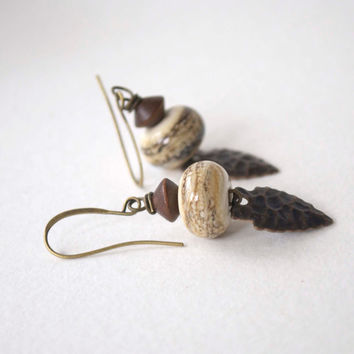 Southwestern Earrings, Ethnic Earrings, Lampwork Glass Earrings, Arrowhead Earrings, Brown Earrings