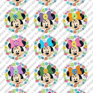 """Minnie Mouse with Bows 1"""" Round Circles Bottle Cap Images Cupcake Toppers Instant Download Digital Emailed 4x6"""