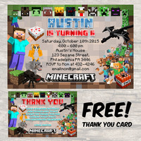 Digital Minecraft Birthday Invitation BrittneyInvitation  Game Pocket Edition