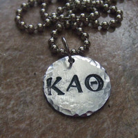Greek Letter Fraternity Sorority Jewelry - Personalized Handstamped Necklace - Big Sister Little Sister Big Brother Little Brother