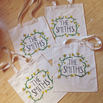 The Smiths Daffodil Hand Painted Natural Canvas Tote Bag
