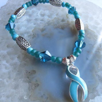 """Ovarian Cancer Bracelet (197) 6 1/4"""", support, for women, cancer awareness collection, unique visions by jen"""