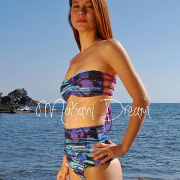 High-Waisted Brazilian Thong Bikini Bottom PAMPELONNE in Ocean, by MAKANI DREAM Swimwear