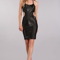 Pleather Pleasure Mini Dress in Black