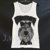 Schnauzer tank top puppy dog artwork Off-white woman teen girl men tops size S/ M/ L gift ideas