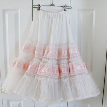 Vintage Petticoat Pink And White Three Layers Of Tulle