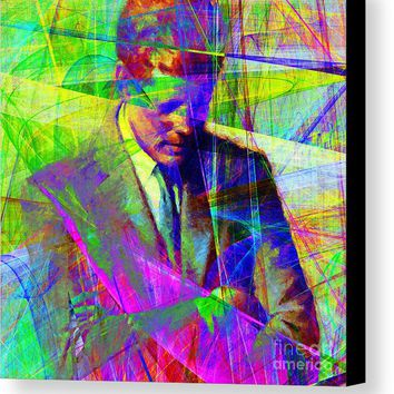 John Fitzgerald Kennedy Jfk In Abstract 20130610v2 Square Canvas Print