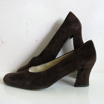 Vintage Charles Jourdan 1990s Dark Chocolate Suede Leather Pump Shoes 10M