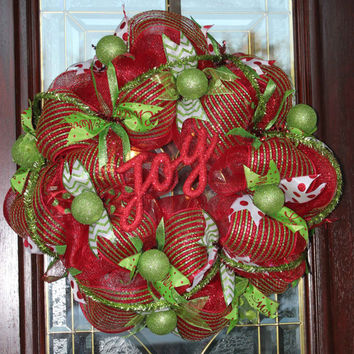 Deco Mesh Christmas Wreath, Red and Lime Green Deco Mesh Wreath