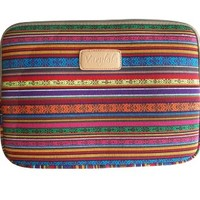 Varylala Tribal Print Canvas Sleeve Case Bag Cover for 11-inch Laptop / MacBook Air / Samsung Chromebook (Red and gold tribal print, 11 inch)