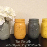 Painted Mason Jar. Yellow and Grey. Vase. Home Decor. Set of 4