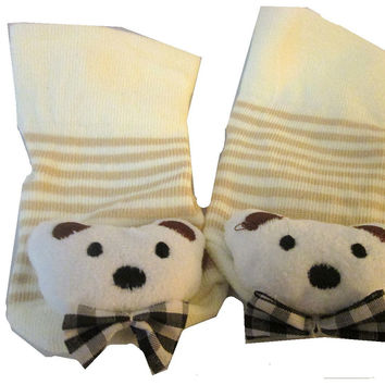 Tan and Brown Bear with Bow Tie 3D Sock For Baby Boy or Girl , Non Skid