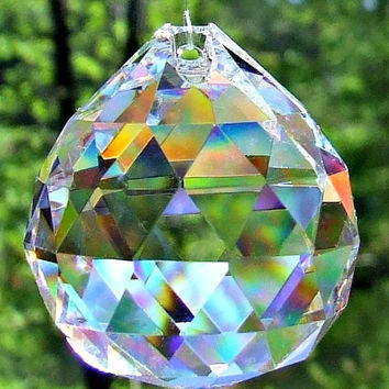 5 Asfour 30mm Full Lead Faceted Crystal Prism Balls, Sun Catcher, Feng Shui Crystal Prism Balls, Wedding Décor, Christmas ornaments