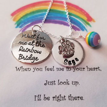 Rainbow Bridge Necklace Sterling Silver Chain Pet Loss Sympathy Hand Stamped