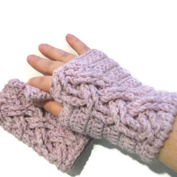 Blush pink fingerless gloves