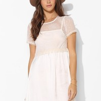 Pins And Needles Embroidered Mesh-Top Babydoll Dress - Urban Outfitters