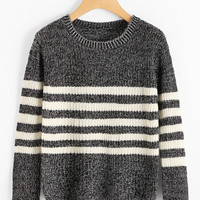 Striped Textured Knit Sweater -SheIn(Sheinside)