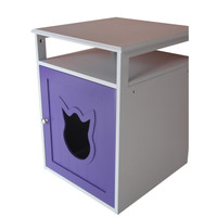 Purple And White Cat Litter Box Furniture