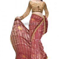 UNM6429-Impressive casual cream and pink color handloom Meghalaya cotton silk sari