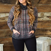 * Beat The Chill Plaid Top: Charcoal