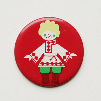 Vintage Soviet era tin pin pinback button medallion cordon badge token folk clothing folklore European brooch kid child childrens